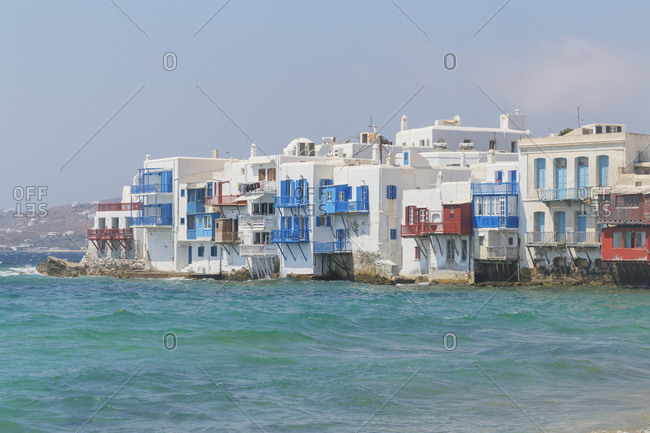June 10, 2019: Little Venice, Mykonos Town, Mykonos, Cyclades Islands, Greece