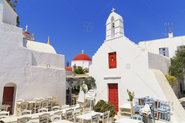 June 10, 2019: Outdoor restaurant, Mykonos Town, Mykonos, Cyclades Islands, Greece