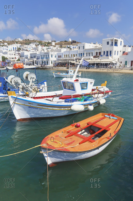 June 10, 2019: Mykonos Town old harbour, Mykonos, Cyclades Islands, Greece