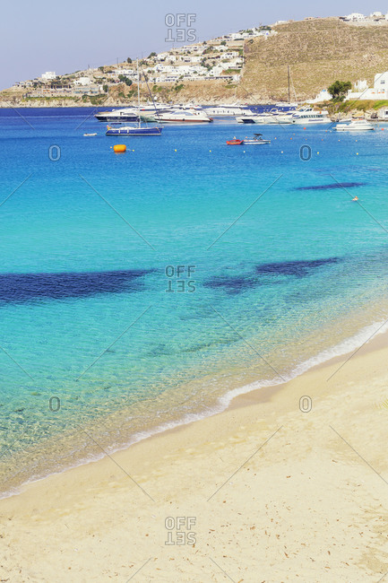 June 11, 2019: Platis Gialos beach, Mykonos, Cyclades Islands, Greece