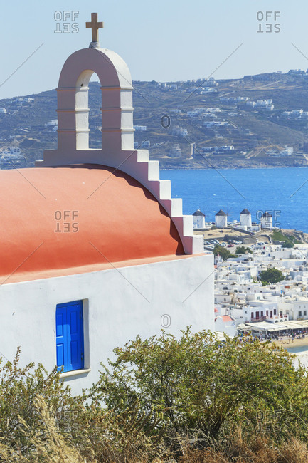 Greek orthodox chapel overlooking Mykonos Town, Mykonos, Cyclades Islands, Greece