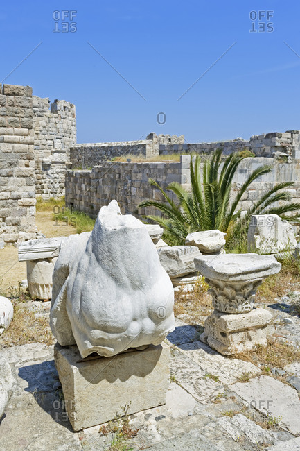 Archaeological findings in the Fortress of Knights of Saint John,, Kos town, Kos, Dodecanese Islands ,Greece, Europe