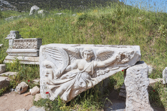 Relief sculpture of Nike, the goddess of victory, Ephesus, Turkey, Asia