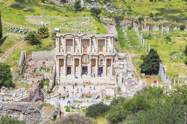 Library of Celsus, elevated view, Ephesus, Turkey, Asia Minor, Asia