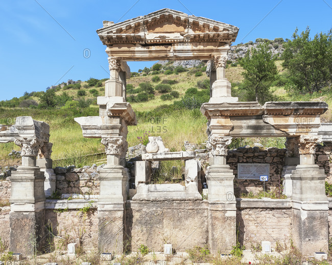 January 5, 2020: Fountain of Trajan, Ephesus, Turkey, Asia Minor, Asia
