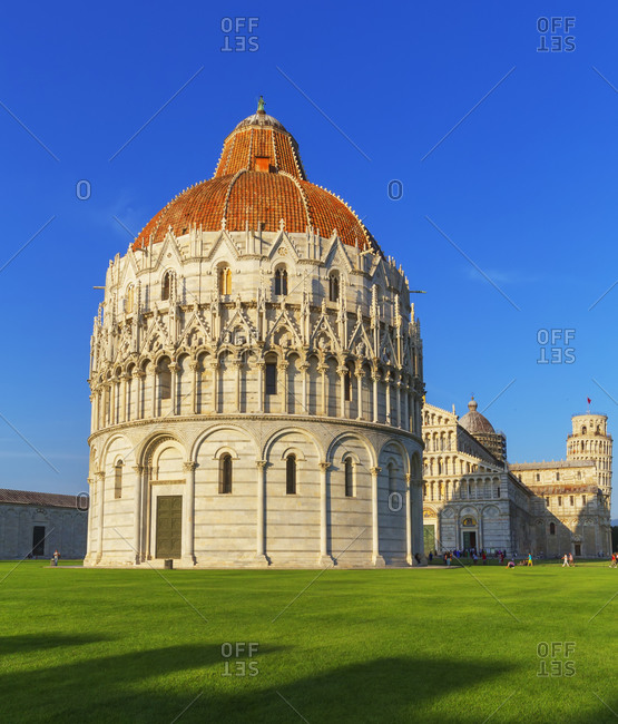 View of Baptistery, Cathedral and Leaning tower, Campo dei Miracoli, Pisa, Tuscany, Italy, Europe