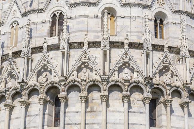 Baptistery detail, Campo dei Miracoli, Pisa, Tuscany, Italy, Europe