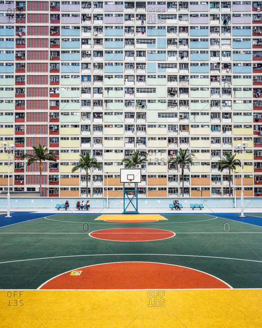 March 17, 2017: China, Hong Kong, Colorful colors in courtyard on sports field