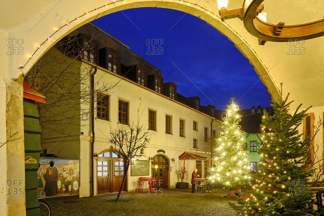 December 17, 2019: Christmas market in the courtyard of the brewery on the market in Wittenberg, Saxony-Anhalt, Germany