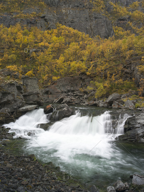View of landscape in Waterfall, Dovrefjell, Norway
