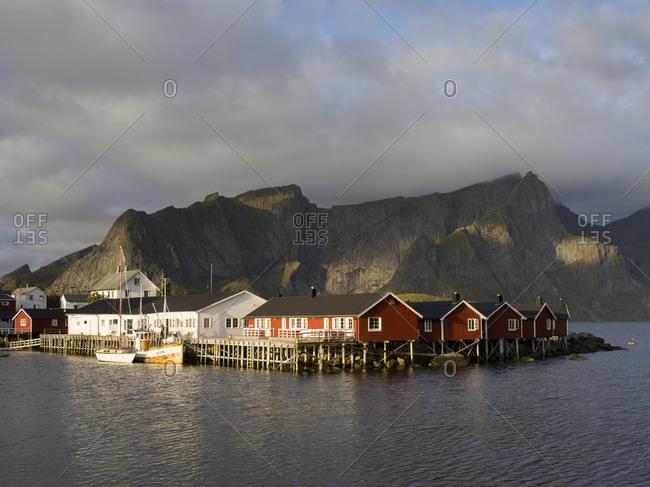 View of landscape in Hamnoy harbor, Lofoten, Norway