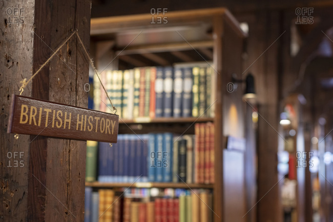 A sign in a bookshop reading British History