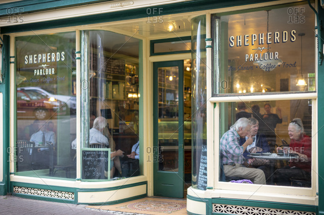 Hay-on-Wye, Wales - September 16, 2019: An ice cream parlor in Hay-on-Wye