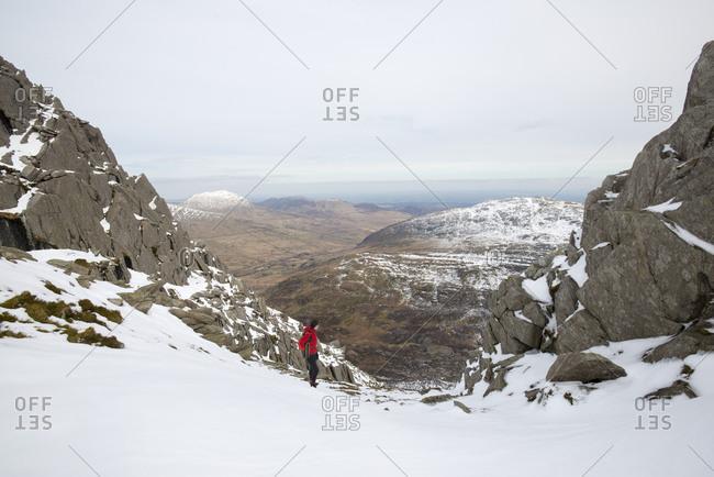 Trekking the trail towards Tryfan in Snowdonia in Wales