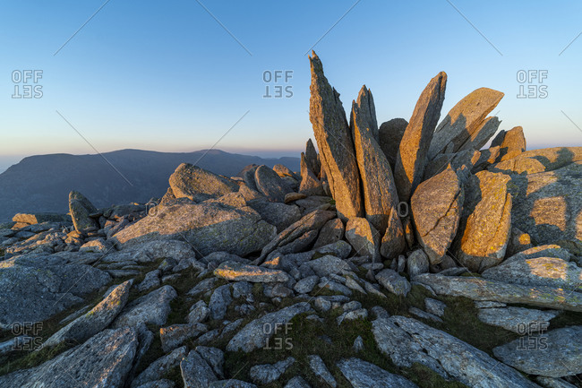 View over Snowdonia from the top of Glyer Fach with mount Snowdon in the distance