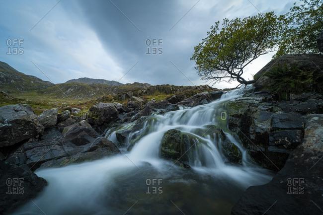 A small waterfall near Llyn Idwal in Snowdonia in Wales