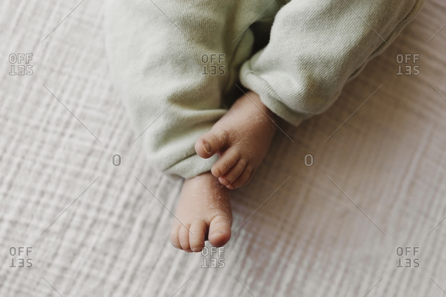 Baby feet and toes close up