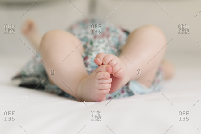 Baby girl feet close up