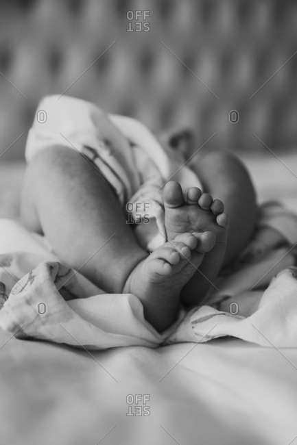 Baby feet and legs wrapped around sheets in black and white