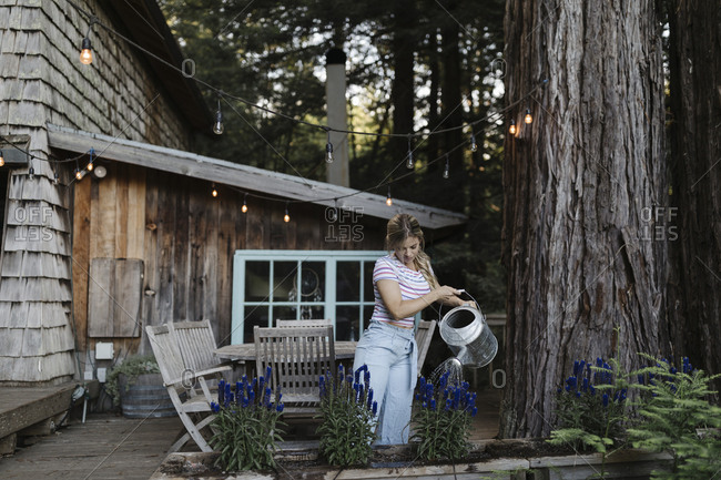 Woman using a watering can to water plants on deck of a cabin in the woods