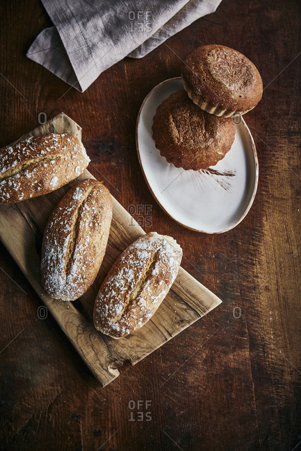 Homemade artisan breads on a wooden rustic surface