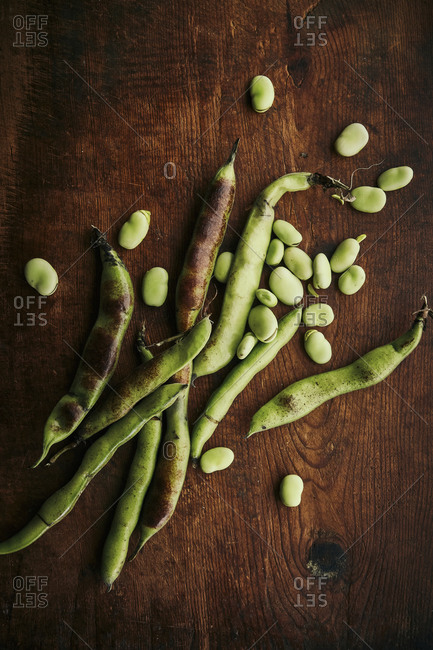 Organic broad bean on a wooden rustic surface