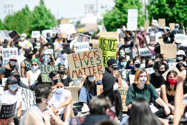 San Francisco Bay Area, California - June 1, 2020: Teens gathered together for Black Lives Matter protest