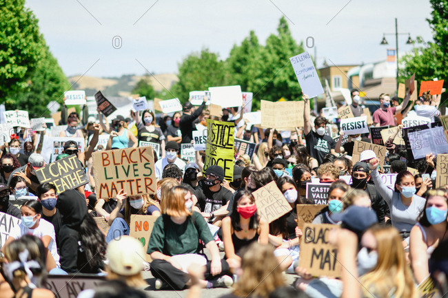 San Francisco Bay Area, California - June 1, 2020: Large group of teens gathered together for Black Lives Matter protest