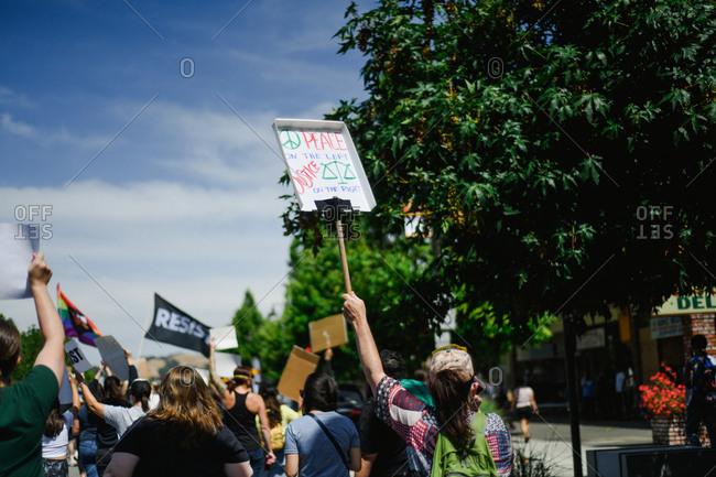 San Francisco Bay Area, California - June 1, 2020: Large group of protesters marching in street for Black Lives Matter movement