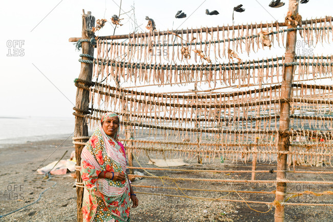 Udvada, India - September 9, 2020: Indian woman standing by rack of drying fish