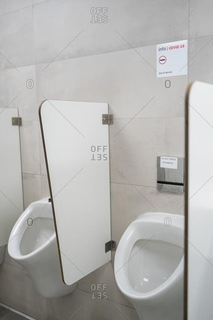 Empty airport bathrooms during coronavirus confinement