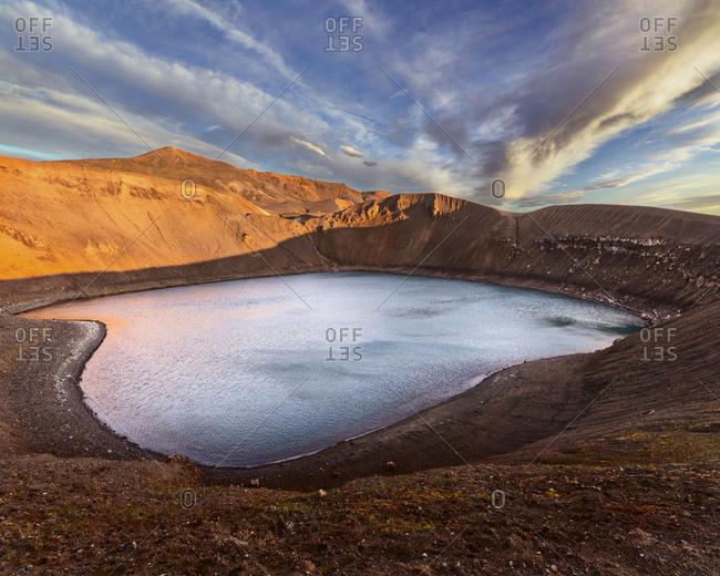 Iceland, Krafla crater at golden hour