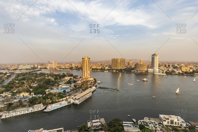 October 3, 2018: Africa, Egypt. Cairo. View of downtown Cairo and the Nile River.