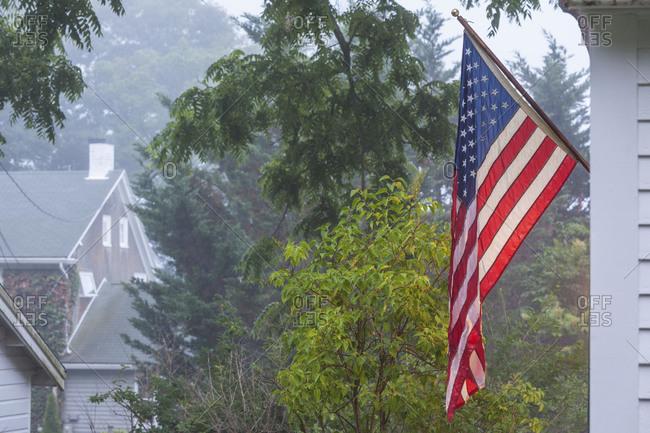 USA, Massachusetts, Cape Ann, Gloucester. US flag.
