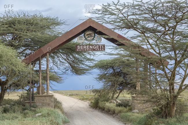 May 18, 2019: Africa, Tanzania, Serengeti National Park. Park entrance sign.