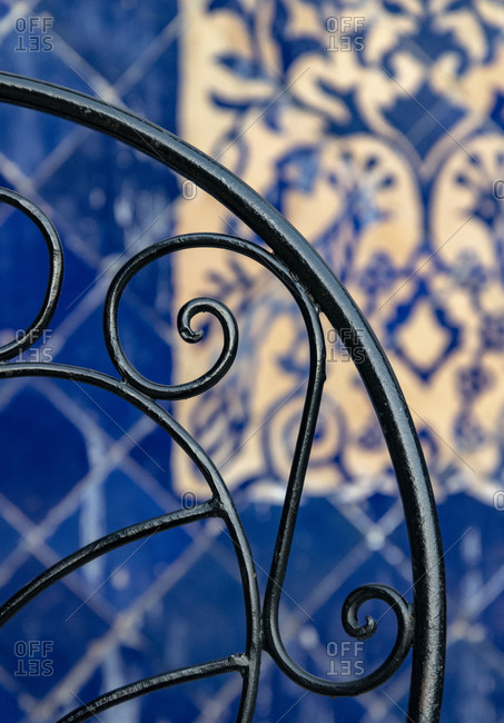 Africa, Morocco, Fes. Close-up of wrought-iron design.