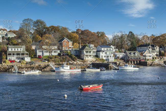 November 3, 2018: USA, Massachusetts, Cape Ann, Gloucester. Annisquam Harbor during autumn.