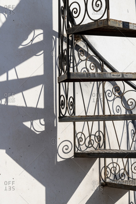 Africa, Morocco, Fes. Close-up of stairway and shadow.