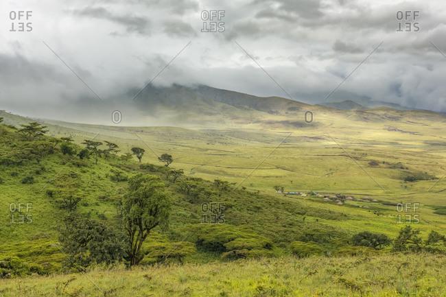 Masai village in the Ngorongoro Conservation Area, Tanzania, Africa.