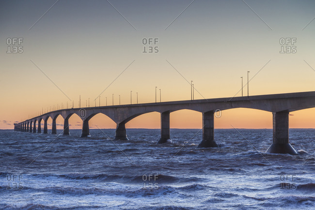 Canada, Prince Edward Island, Borden. Confederation Bridge, on the Northumberland Straight.
