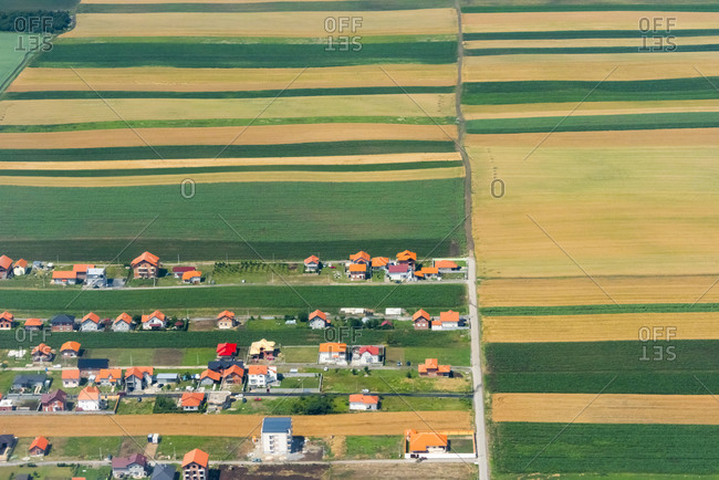 Aerial view of farmland, Belgrade, Serbia