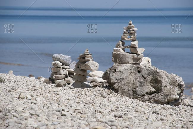 Rock Stacking on Mackinac Island