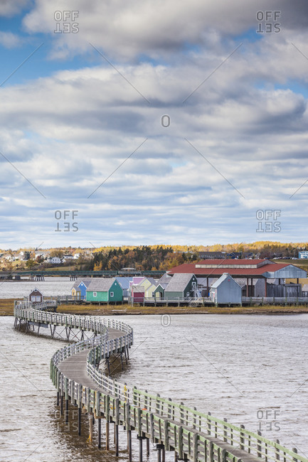 October 22, 2018: Canada, New Brunswick, Northumberland Strait, Bouctouche. Le Pays de la Sagouine, reconstructed waterfront Acadian historical village.