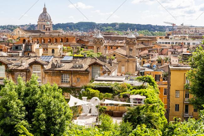 May 17, 2018: Italy, Rome. St Peter's dome from Viale della Trinita dei Monti.