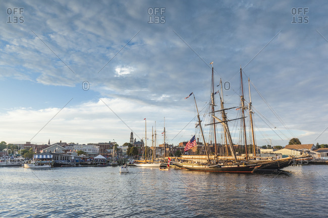 September 1, 2018: USA, Massachusetts, Cape Ann, Gloucester. Gloucester Schooner Festival, schooners in Gloucester Harbor at dusk