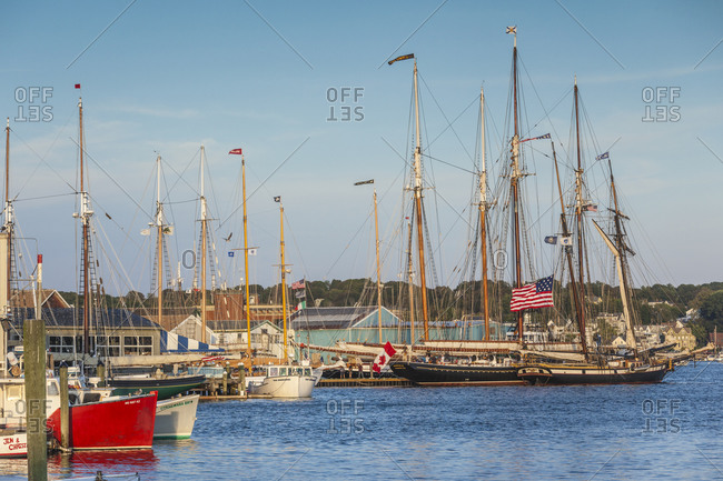 September 2, 2018: USA, Massachusetts, Cape Ann, Gloucester. Gloucester Schooner Festival, schooners at dusk