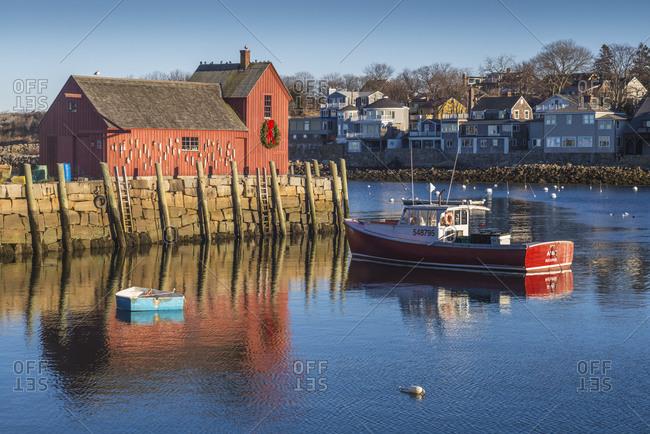 December 23, 2018: USA, Massachusetts, Cape Ann, Rockport. Rockport Harbor, Motif Number One, famous fishing shack
