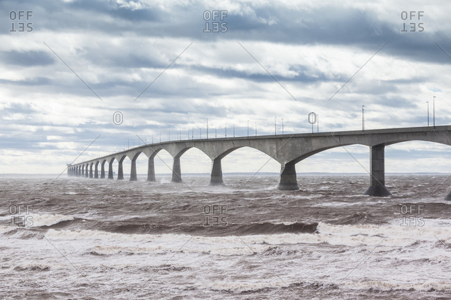 Canada, Prince Edward Island, Borden. Confederation Bridge, stormy waters of the Northumberland Straight.