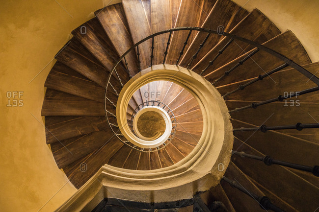 Europe, Czech Republic, Kutna Hora. Santini circular stairwell in Monastery Church of Assumption of Our Lady at Sedlec.