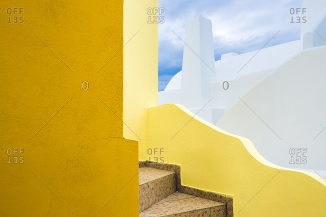 Europe, Greece, Santorini. Stairs and building shapes.